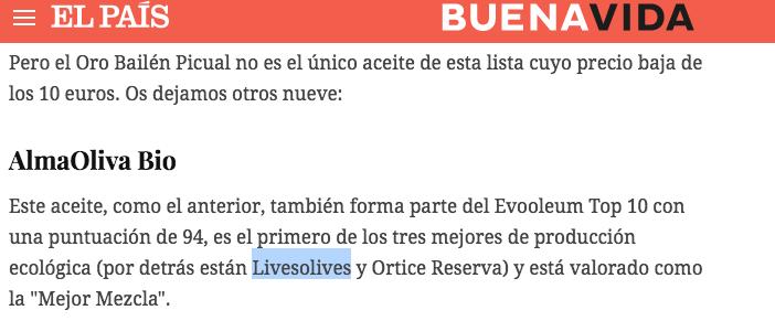 LIVESOLIVES EL PAIS BUENAVIDA 2019